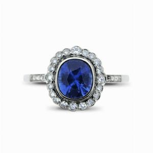 Sapphire & Diamond Rubover Set Platinum Cluster Ring - 1.39ct